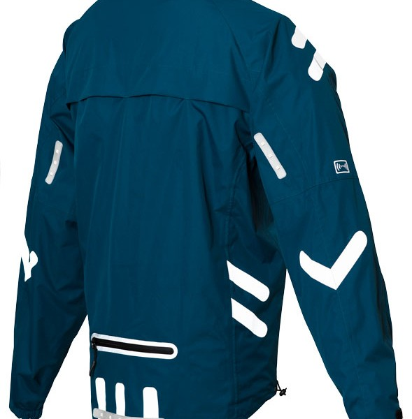 Visijax City Ace Cycling Jacket with LED Indicators - Teal Blue - Rear View