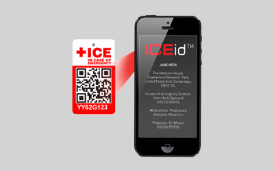 ICEid tag and smartphone