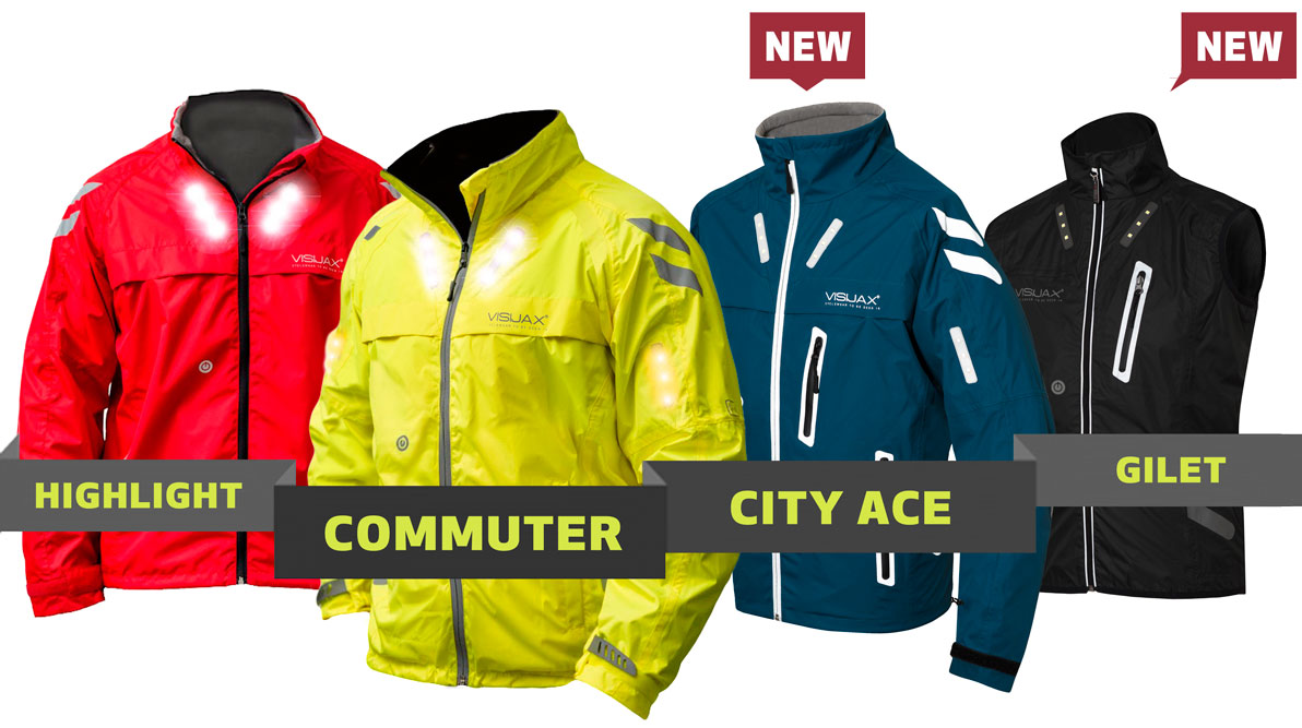 VISIJAX range of Cycling Outdoor Jackets with wearable technology LEDs
