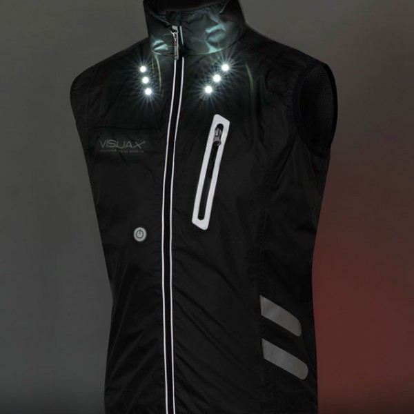 VISIJAX Gilet - Black - Full Front Lights on