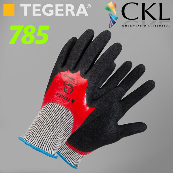 TEGERA®785 by Ejendals: Scandinavian Quality Durable & Ergonomic Cut-5 Double-Dipped Nitrile Glove