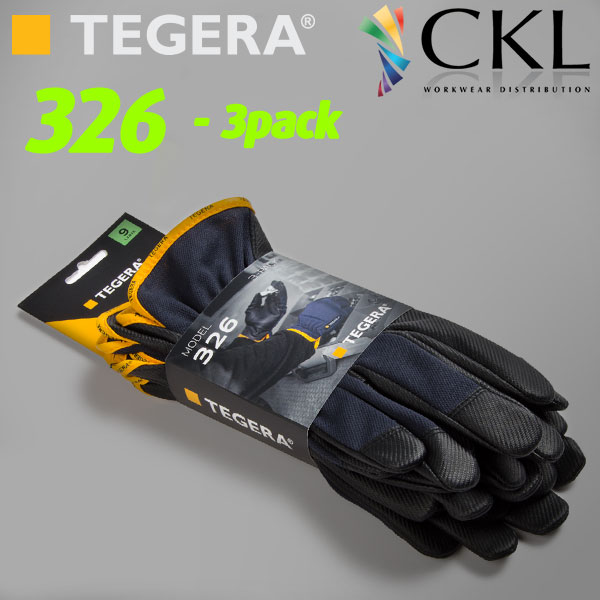 3pack-TEGERA®TEGERA326 by Ejendals: Synthetic leather glove, Reinforced Fingertips, Cat. II, Grip Glove