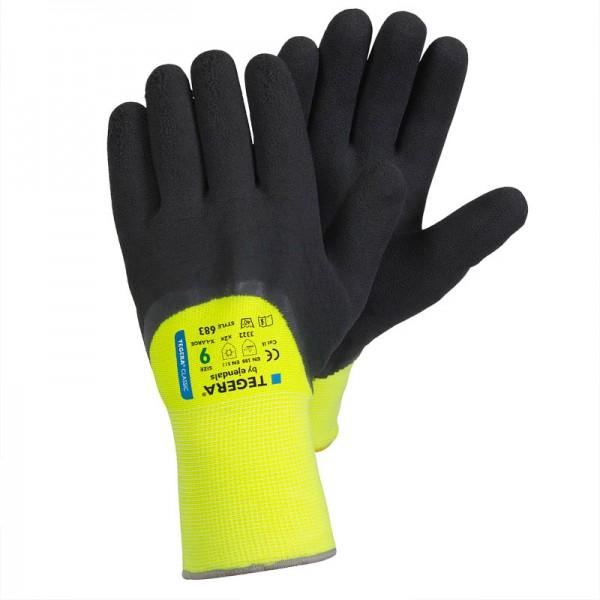 TEGERA®683: Oil & Water-repellent Nitrile Warm-Lined Vis Gloves