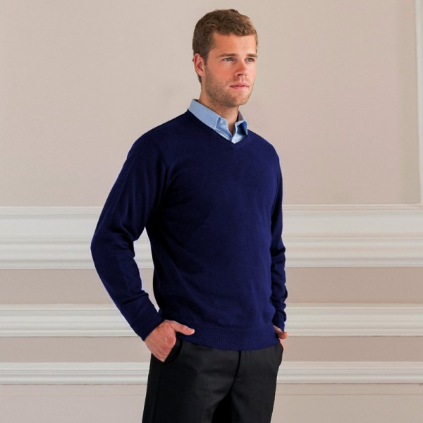 V-Neck Knitted Pullover-navy