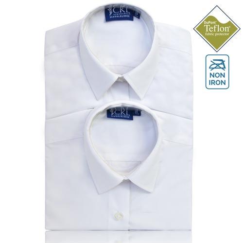 CKL Schoolwear TWINPACK Girls School Blouse L/S-CBLG11-white