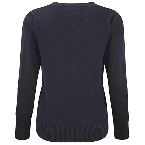 Ladies V-Neck Knitted Cardigan-JCAL715-black-back