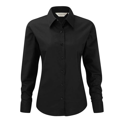 135g 70/30CP Ladies Easy-Care Oxford Blouse Long Sleeve - JSHL932-black