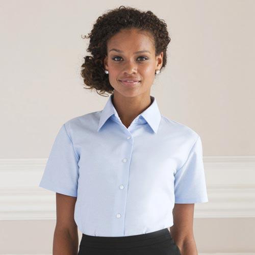 Ladies Easy-Care Oxford Blouse Short Sleeve - JSHL933-main