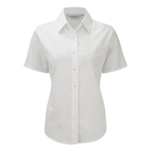 Ladies Easy-Care Oxford Blouse Short Sleeve - JSHL933-white