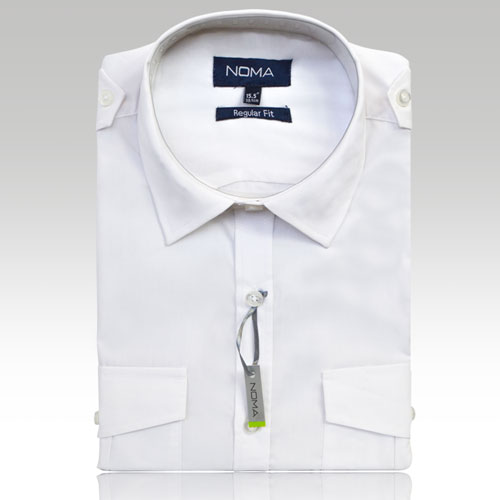 NSHA03-Noma Men's Pilot Shirt L/S-white