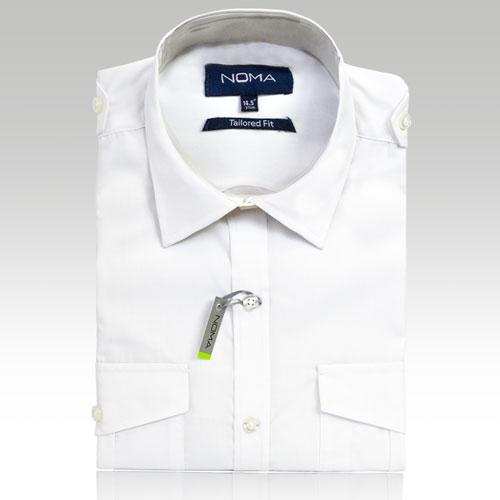 NSHA03T-Noma Men's Tailored Pilot Shirt L/S-white