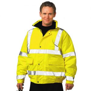 Hi Vis Bomber Jacket-WJAA463-yellow