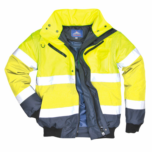 Contrast Bomber 3-in-1 Jacket (detachable Fur-lined Collar & Sleeves)-WJAA465-yellow