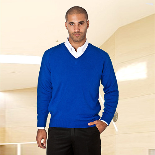 Wool-Mix V-Neck Knitted Jumper-WJUA01-royal