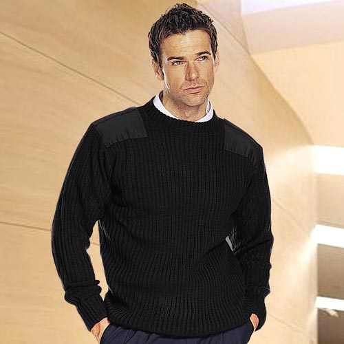 'NATO' Crew Neck Jumper (2x2 rib)-WJUA13-black