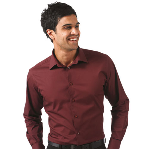 Easy-Care Cotton-Stretch Fitted Long Sleeve Shirt JSHA946
