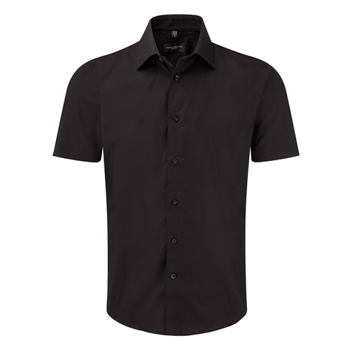 Easy-Care Cotton-Stretch Fitted Short Sleeve Shirt-JSHA947-black