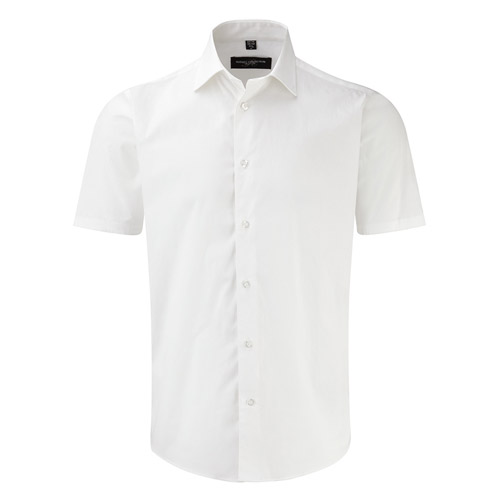 Easy-Care Cotton-Stretch Fitted Short Sleeve Shirt-JSHA947-white