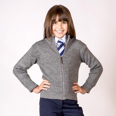 Girls' Knitted Stretch Zip Cardigan - CCAG02-grey