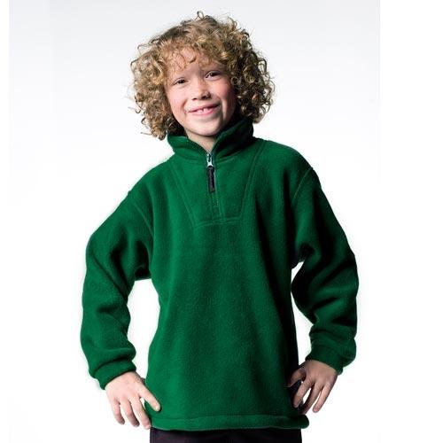 Kids Quarter Zip Outdoor Fleece - JFK874-bottle-green