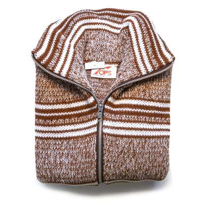'Tops of Scotland' Jumper Zipper Long Sleeve VJUA17-light-brown