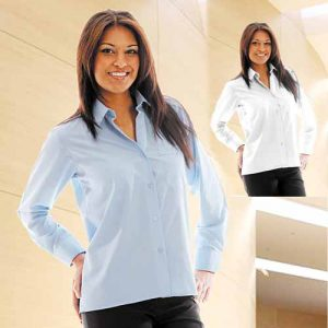 110g 65/35PC Ladies Classic Poplin Shirt Long Sleeve - WBLL09