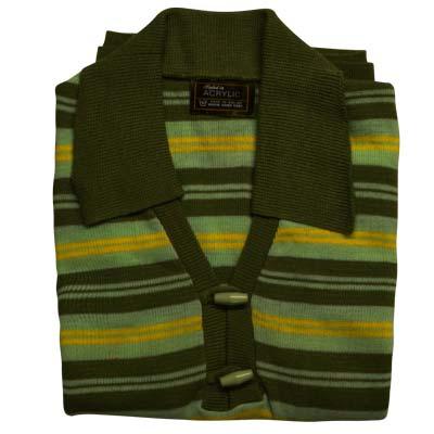 100% Acrylic Jumper Short Sleeve 2 Toggle Collar Strip Green-mint