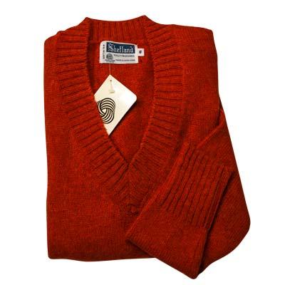 100% Shetland Wool Jumper Ladies V-Neck Long Sleeve Fully Fashion Pure New Wool VJUA08-rust