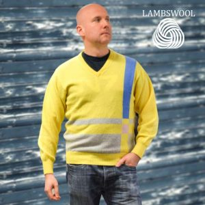 'Tops Of Scotland' Jumper Vneck Strip Long Sleeves VJUA09