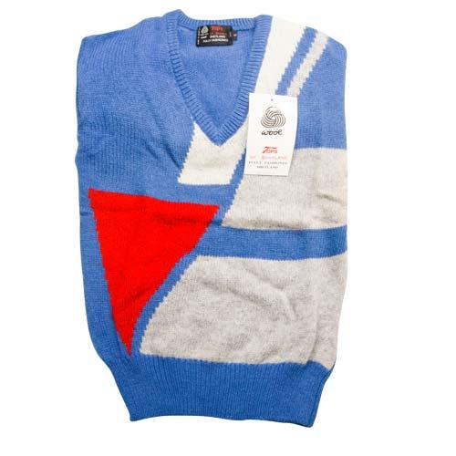 100% Shetland Wool Jumper V-Neck Intarsia Long Sleeve Fully Fashion Pure New Wool - VJUA11-royal
