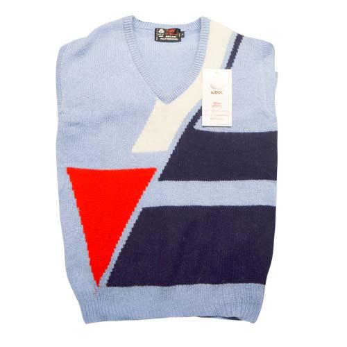 100% Shetland Wool Jumper V-Neck Intarsia Long Sleeve Fully Fashion Pure New Wool - VJUA11-sky