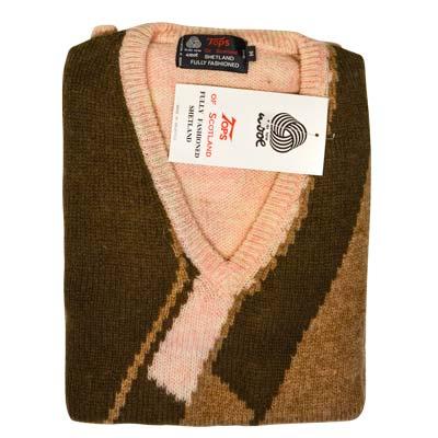 'Tops Of Scotland' Jumper V-neck Long Sleeve Pure New Wool VJUA12-cream-brown