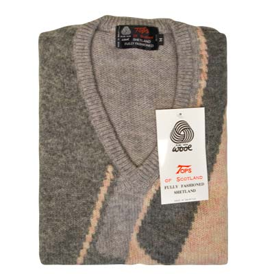 'Tops Of Scotland' Jumper V-neck Long Sleeve Pure New Wool VJUA12-grey