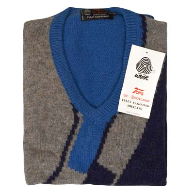 'Tops Of Scotland' Jumper V-neck Long Sleeve Pure New Wool VJUA12-royal-grey
