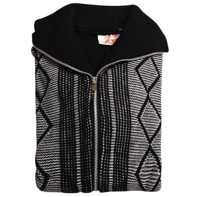 'Tops Of Scotland' Jumper with Front Zip Collar 2-tone - VJUA15-black