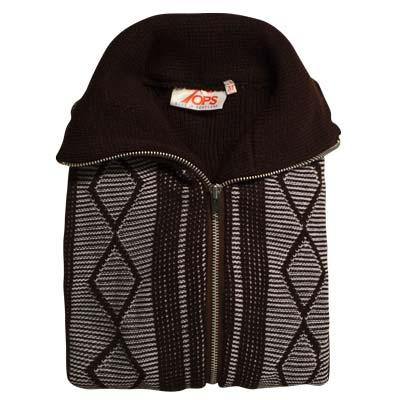 'Tops Of Scotland' Jumper with Front Zip Collar 2-tone - VJUA15-brown