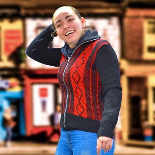 'Tops Of Scotland' Jumper with Front Zip Collar 2-tone - VJUA15