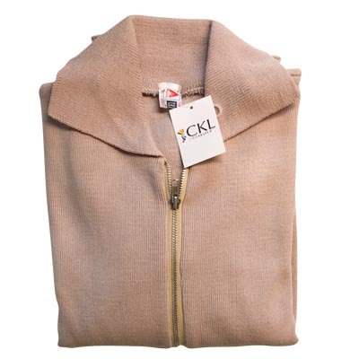 Jumper with Front Zip and Collar VJUA16-stone