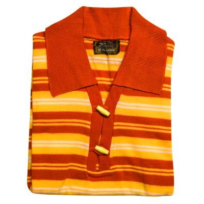 100% Acrylic Jumper Short Sleeve 2 Toggle Collar Strip VJUA89-orange-peach