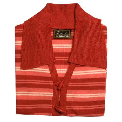 100% Acrylic Jumper Short Sleeve 2 Toggle Collar Strip VJUA89-raspberry-pink