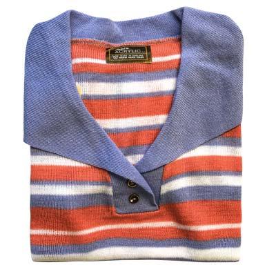Jumper 2 Button Collar Strip 3/4 Sleeve VJUA90-blue-pink