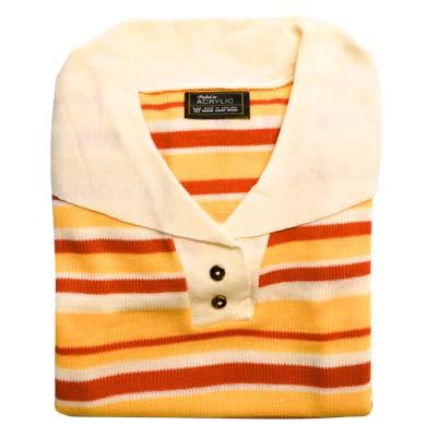 Jumper 2 Button Collar Strip 3/4 Sleeve VJUA90-cream-peach