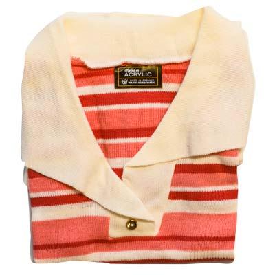 Jumper 2 Button Collar Strip 3/4 Sleeve VJUA90-cream-pink