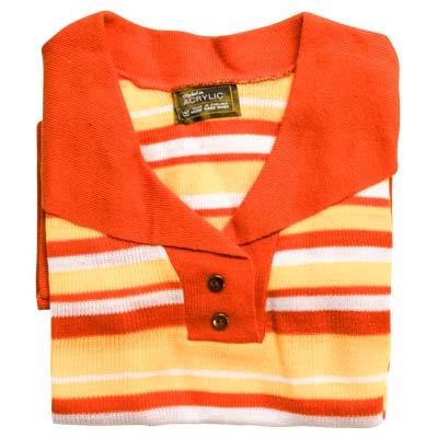Jumper 2 Button Collar Strip 3/4 Sleeve VJUA90-orange-peach