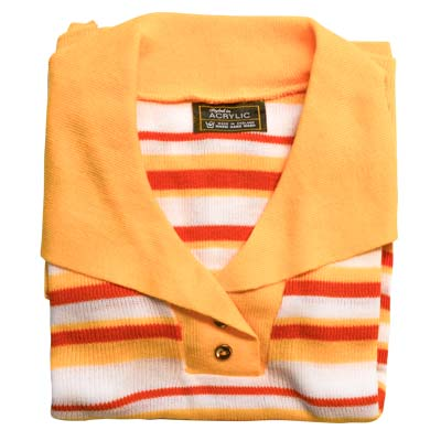Jumper 2 Button Collar Strip 3/4 Sleeve VJUA90-peach-white