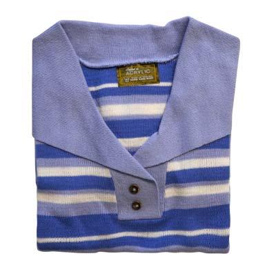 Jumper 2 Button Collar Strip 3/4 Sleeve VJUA90-sky-royal