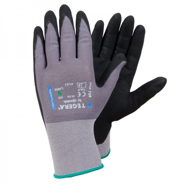 TEGERA®728 by Ejendals: Sandy-Nitrile Dipped Lycra Comfort Glove
