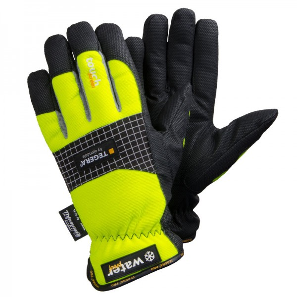 TEGERA®9128 by Ejendals: Winter-Lined, Waterproof, Windproof, Synthetic Leather Microthan, Knuckle Protection, Touchscreen, Grip Glove