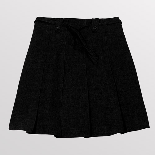 Girl's Knife Pleat Ribbon Skirt - Primary-black