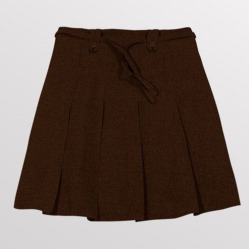 Girl's Knife Pleat Ribbon Skirt - Primary-brown